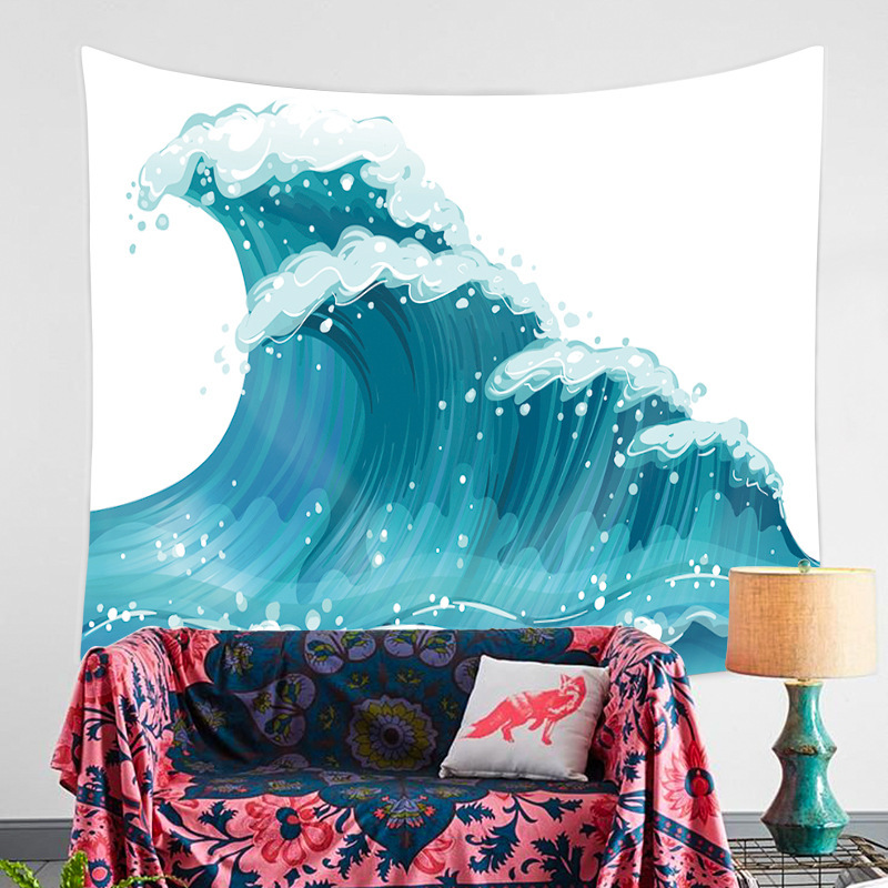 Waves Illustration Mandala Tapestry Wall Hanging Landscape Ocean Sun Hippie Wall Cloth Tapestries Home Boho Decor Cover Blankets in Tapestry from Home Garden