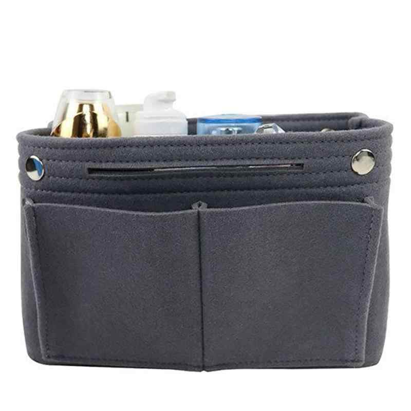Multi-Function Travel Portable Felt Cosmetic Bag Purse Organizer Insert Multi-Purpose Handbag Organizer Insert Cosmetic Bag