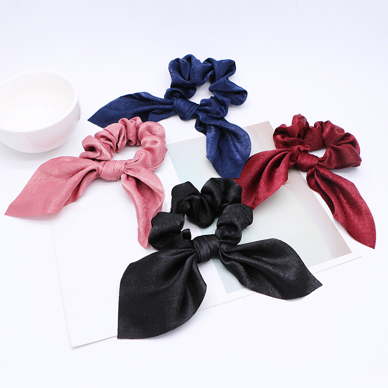 Fashion Bow Scrunchies Elastic Hair Band Hair Ropes Girls Hair Ties Women Hair Accessories Sweet Women   Headwear