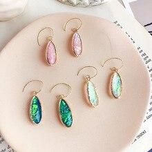 цены на Color Green Abalone Shell Resin Drop Earrings For Women Accessories, Fashion Waterdrop Dangle Earings Jewelry 2019  в интернет-магазинах