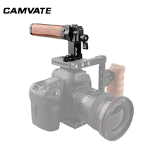 CAMVATE Camera Cage Top Handle Wooden Handgrip With 15mm Standard Single Rod Clamp & Shoe Mount For DSLR Camera Cage Supporting