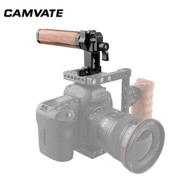 Impugnatura in legno con impugnatura superiore per gabbia per videocamera CAMVATE con morsetto a stelo singolo Standard da 15mm e supporto per slitta per supporto gabbia per fotocamera DSLR