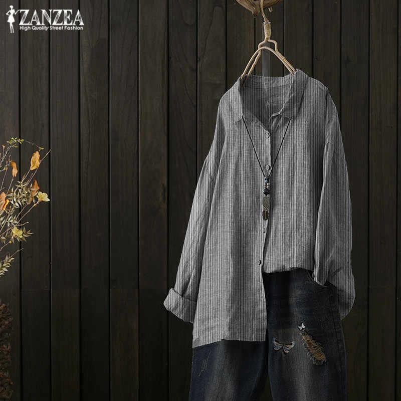 بلوزة أنيقة للنساء من ZANZEA بأكمام طويلة بلوزة بطية صدر 2019 قميص للخريف غير رسمي مخطط عتيق بلوزة للعمل بمقاس كبير