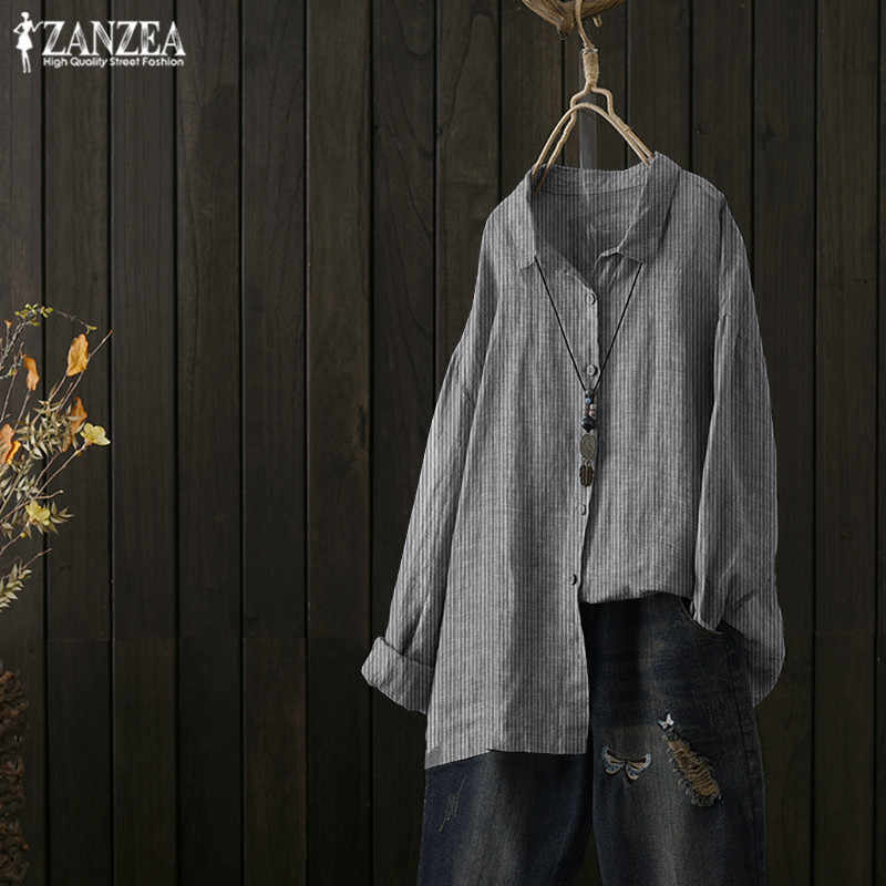 fe862ff4914 ... ZANZEA Blouse Women Elegant Long Sleeve Lapel Blouses 2018 Autumn Casual  Striped Shirt Vintage Striped Work ...