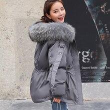 FTLZZ Для женщин зимняя короткая куртка женская куртка с капюшоном зимнее пальто, парка Для женщин Свободные парка меховой воротник, куртки с хлопковой подкладкой