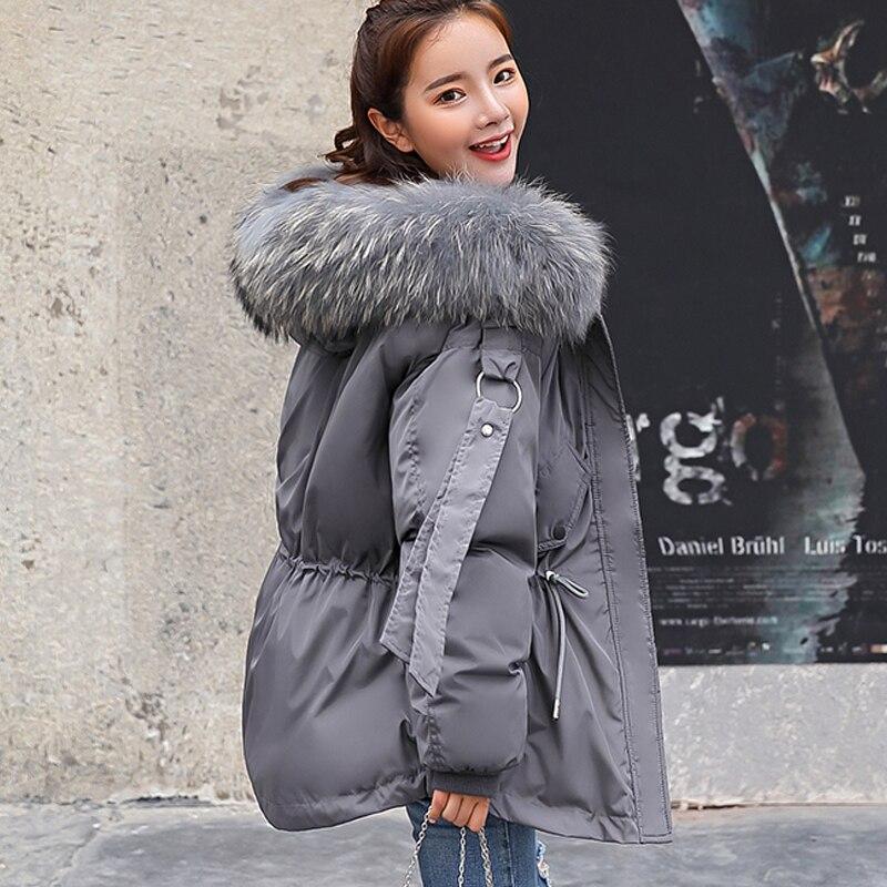 FTLZZ 2019 Для женщин зимняя короткая куртка женская куртка с капюшоном зимнее пальто, парка Для женщин Свободные парка меховой воротник, куртки с хлопковой подкладкой