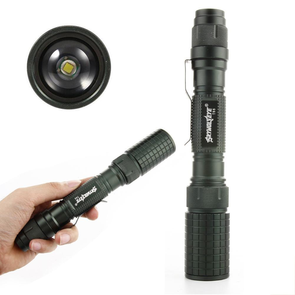 Skywolfeye T6 LED Flashlight 200000LM Zoomable Torch Lamp Rechargeable Charger
