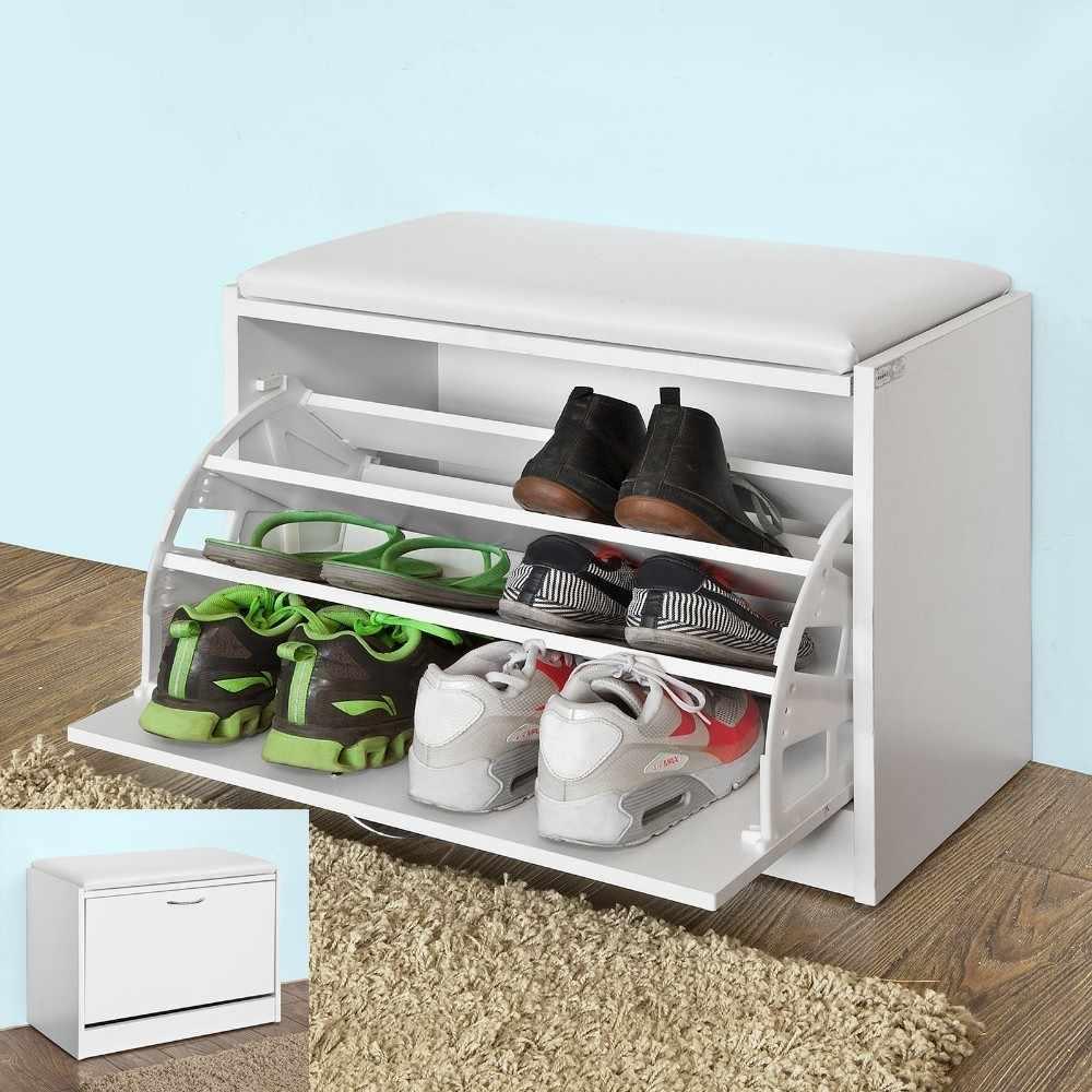 Meuble Rangement Chaussures Entree sobuy fsr16 w banc armoire à chaussures 1 abattant avec