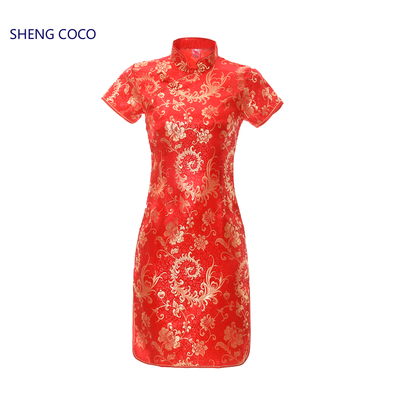 SHENG COCO S-6XL Red Satin Cheongsam Short Dressres Women Qipao Chinese Pteris Flower Pattern Traditional Plus Size 5XL XL Dress