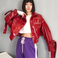 Women Fashion Patent Leather Jacket Extra Short Female Pockets Glossy Fabric Pu Leather Embroidery Short Slim Jackets