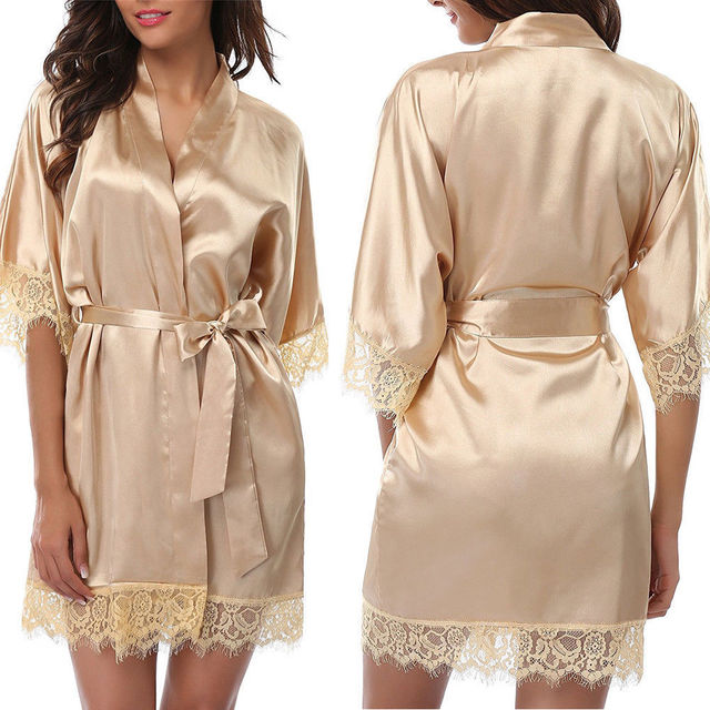 93b1adffbd Hot Women Deep V-neck Lace Hollow Out Sexy Robe Silk Satin Female Robes  Wedding Bridesmaid Bride Gown kimono Solid Summer Robes