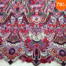 Royal Style Wine colorful embroidey baroque New lace flower embroidery fabric textile fabrics diy custom curtain sheet fabrics