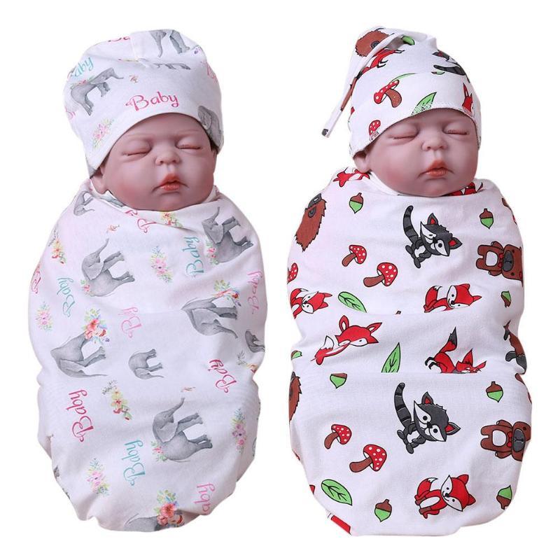 Radient Cartoon Baby Kinderschoenen Katoen Slapen Print Patroon Mat Hoed Wrap Inbakeren Deken Badhanddoek Envelop Voor Pasgeborenen Matras