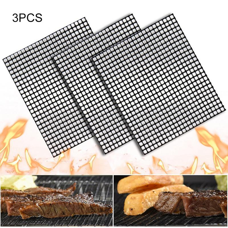 Home & Garden 3pcs Nonstick Glass Fiber Bbq Grill Mat Barbecue Grilling Pad Churrasco Grill Topper Mesh Net Outdoor Camping Picnics Bbq Tools