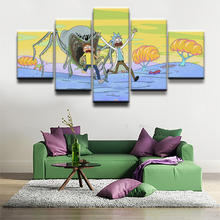 Modern Decor Canvas Animated Science Fiction Comedy 5 Panel Rick And Morty Painting Modular Picture Wall Art Frame For Kids Room