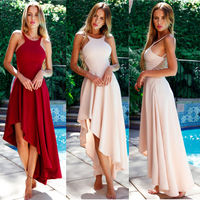 Robe Cocktail Longue 2018 Elegant Ladies Sexy Halter Backless High Low A line Sleeveless Off Shoulder Hi Low Formal Party Gowns