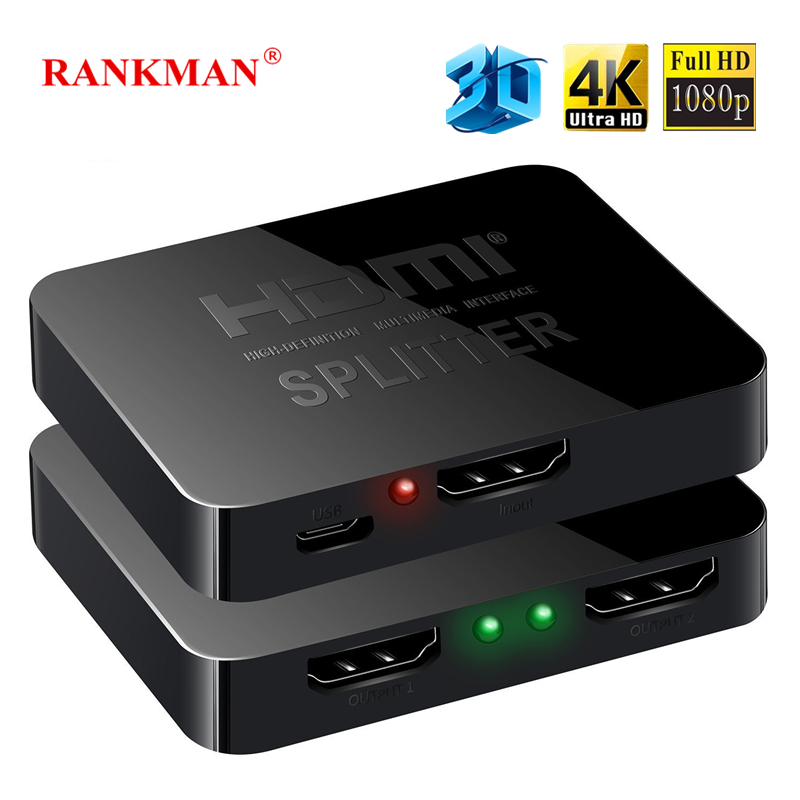 Rankman HDMI 4K Splitter 1x2 HDMI 1 in 2 Out Daul Display 1080P 3D Adapter Switcher for DVD HDTV Laptop Monitor Xbox