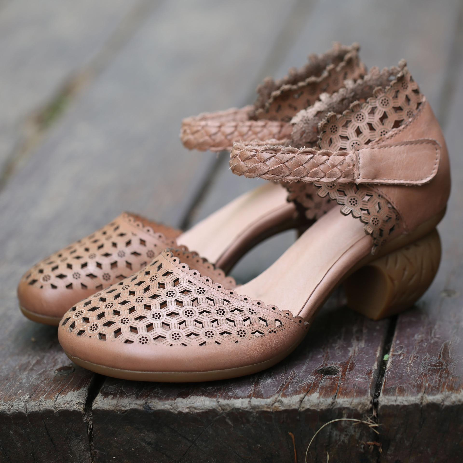 Chaussures La Grey Élégant Sandales 2019 Femmes Haute Cuir Wedge Ronde À apricot Tête Hee D'été Main De Véritable En TvFWAWt