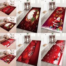 سجادة ثلاثية الأبعاد لغرف المطبخ مصنوعة من قماش سانتا كلوز ومضادة للانزلاق تصلح لأعياد الميلاد