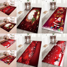 3D Christmas Santa Claus Anti slip Kitchen Room Floor Mat Flannel Carpet Rug
