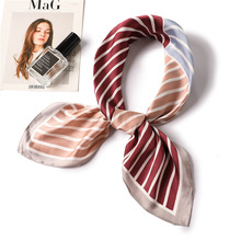 Ruicesstai striped silk scarf women fashion patchwork geometric scarves square lady neckerchief 2019 summer new hair scarfs