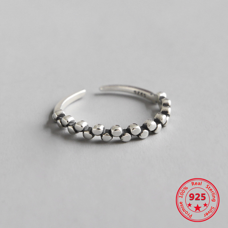 925 Sterling Silver Ring Retro Old Round Beaded Opening Female Personality Ring