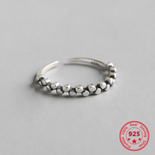 925 Sterling Silver Ring Retro Old Round Beaded Opening Female Personality Ring 925 sterling silver opening snake retro thai silver ring