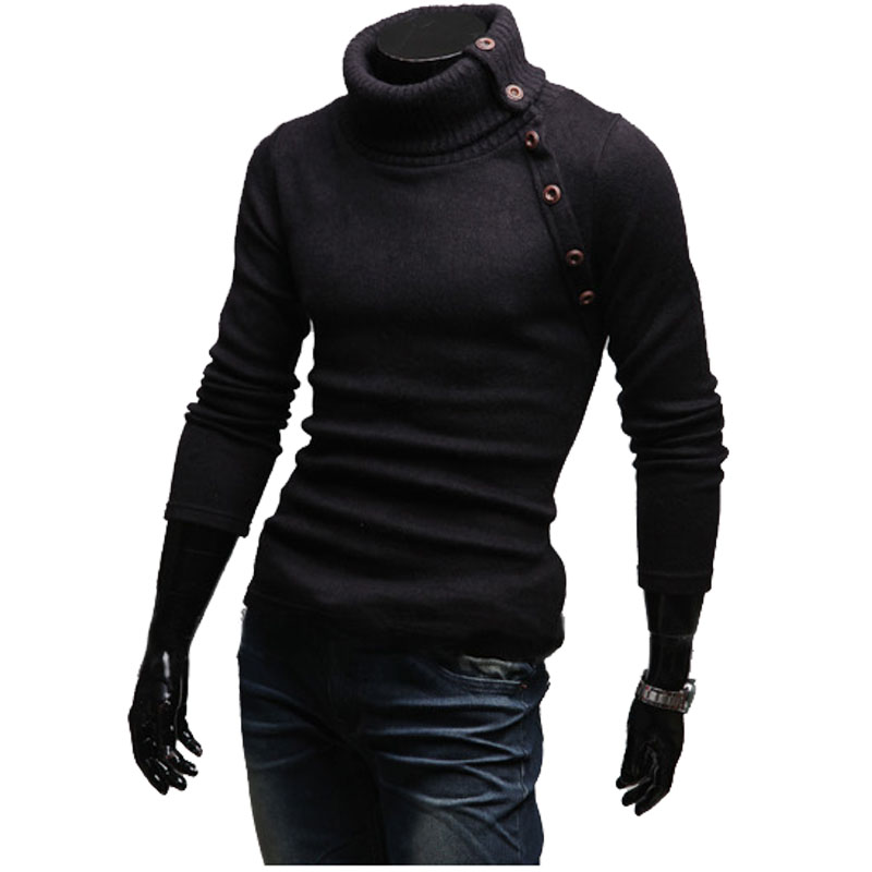 Turtleneck Sweaters Stylish Slim Fit Knitted Long Sleeve Solid Color Men Sweater Male Sweaters Pullover Size XXL
