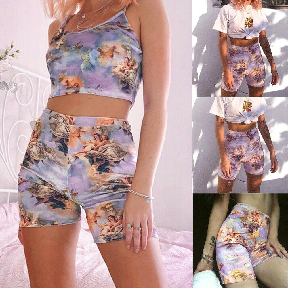 Fashion Womens High Waist Soft Girl Stretch Elastic Gym Casual   Shorts   Outdoor Angel Printed   Shorts