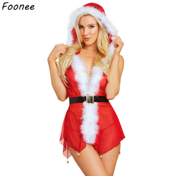 Lady Sex Underwear Christmas Lingerie Sets Women Sexy Pajamas Babydoll Sleepwear Ladies Red Fancy Dress Costumes for Xmas