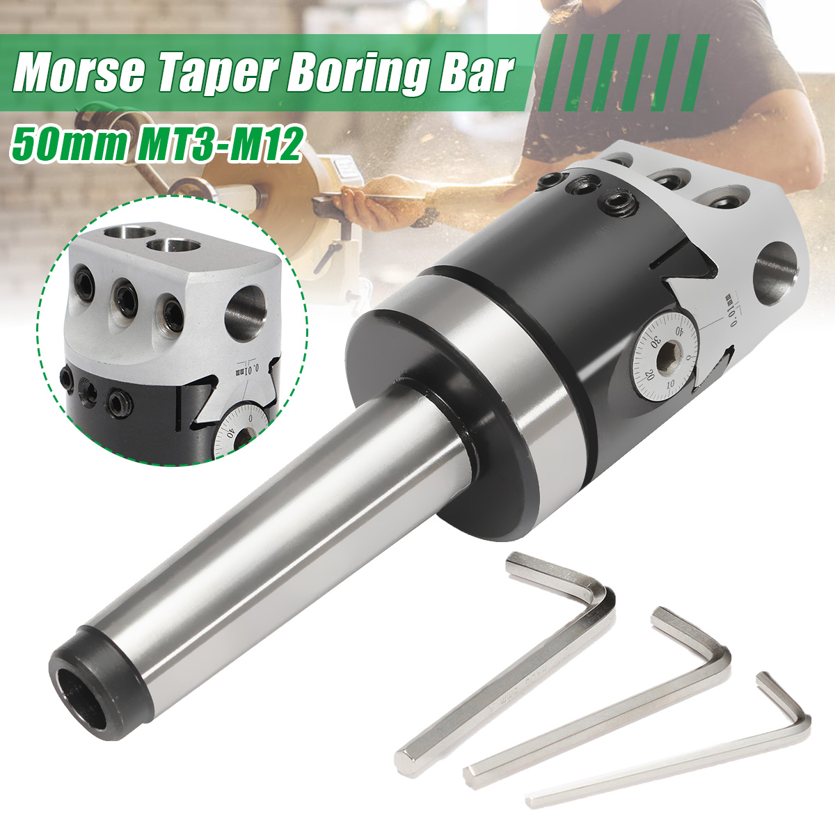 1Set High Quality 50mm MT3-M12 Universal Usage Boring Head With Morse Taper Shank For Lathe Milling Tool