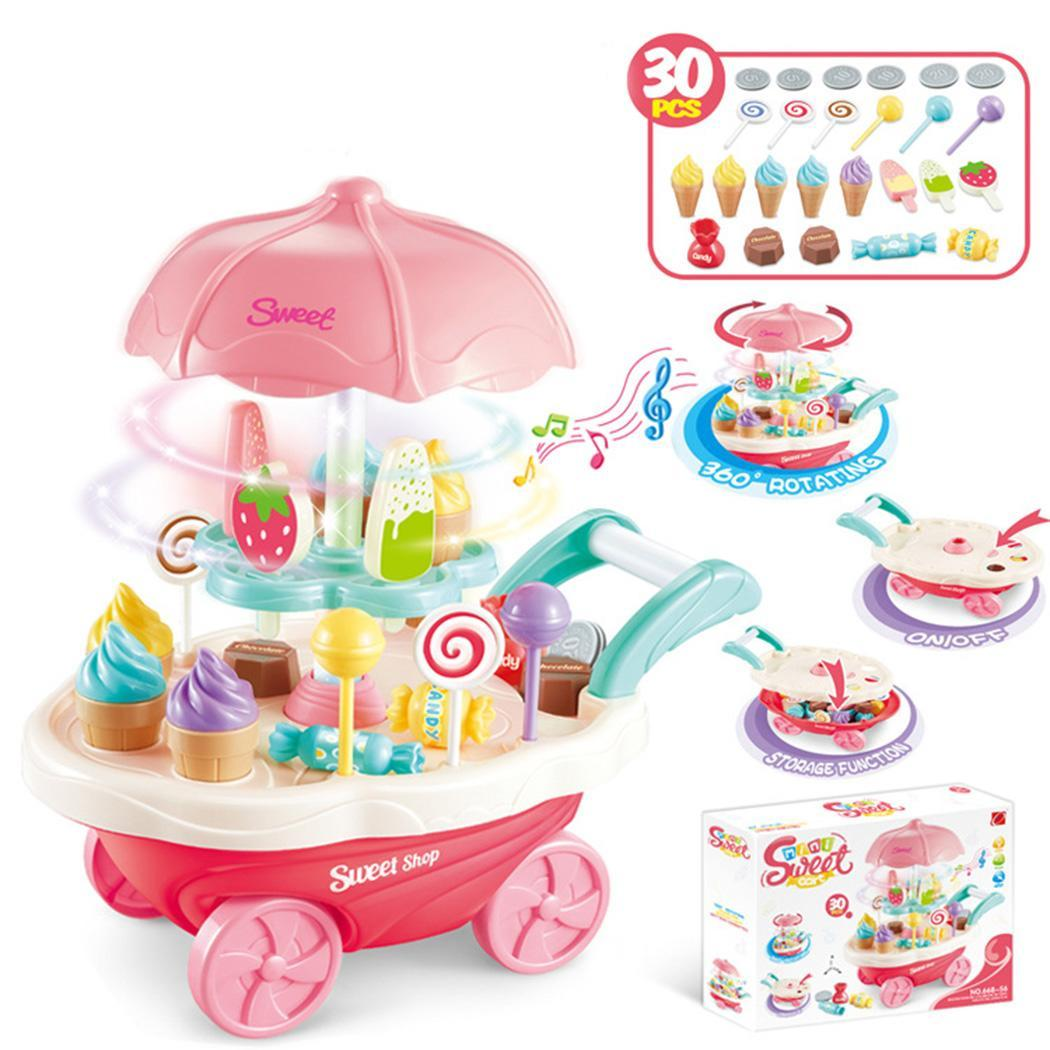 Children Role Play Toys Candy Cart Detachable Ice 3 X AA Batteries > 3 years old Cream Shop Cart Set of Toy