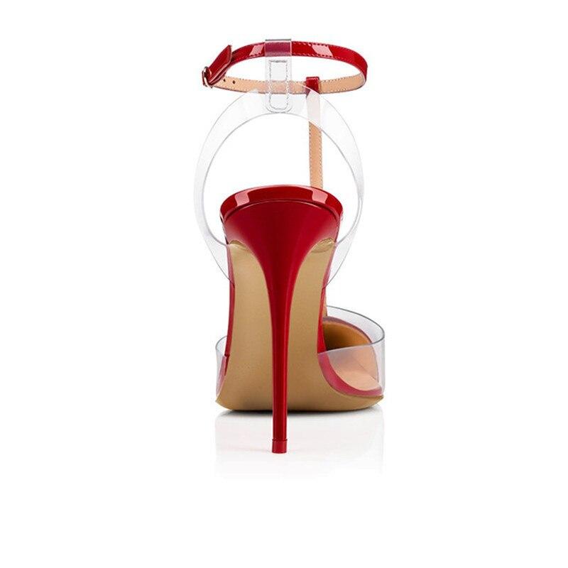 Transparent Sandales as T Verni Pvc En À Partie 19ss Pic Cuir Femme As Stilettos Hauts De Sexy Sangle Chaussures Dame Talons Pointu Pic Rivets Bout Banquet qYXxSz