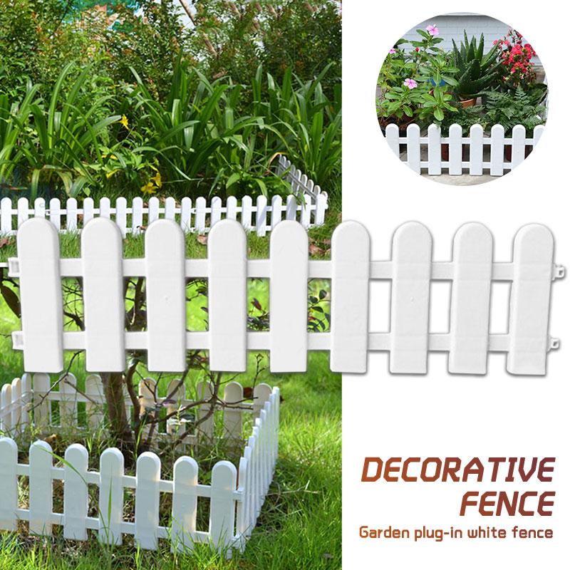 1Pc 50x13cm White Plastic Tree Fence Courtyard Indoor Garden Fence Kindergarten Flower Garden Vegetable White Decor