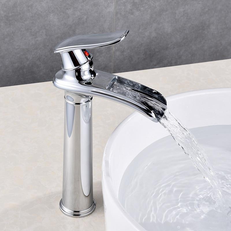 все цены на Black Basin Tall Faucet Modern Water Tap Chrome Single Handle Waterfall Basin Mixer Tap Hot & Cold Water Sink Tap Brass Made онлайн