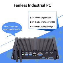 Fanless Industrial PC,Mini Computer,Windows 10,Intel Core I5 4200U,[HUNSN MA04I],(Dual WiFi/VGA/HD/3USB2.0/4USB3.0/LAN/2COM)