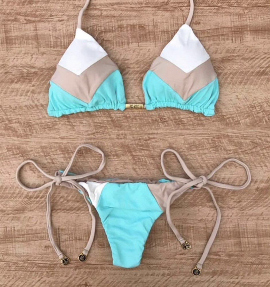 Sexy Halter Swimsuit Women Thong Micro Bikini Push Up 2019 Brazilian Bikini Tropical Plant Print Swimwear String Mini Swimsuit