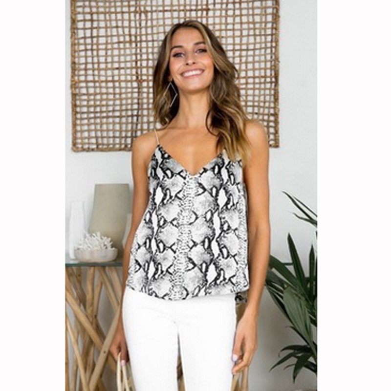 sexy Women camis Ladies leopard snake printed summer vest   tank   sleeveless v neck fashion style   top   mujer