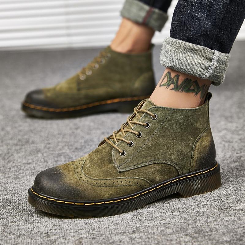 Calçado Up Moda Botas Plush Inverno green Plush De Plush Outono Vintage Brown Sapatos Homens Couro Qualidade green Genuíno gray Boots brown gray Ankle Do Lace Alta PnzAw18d