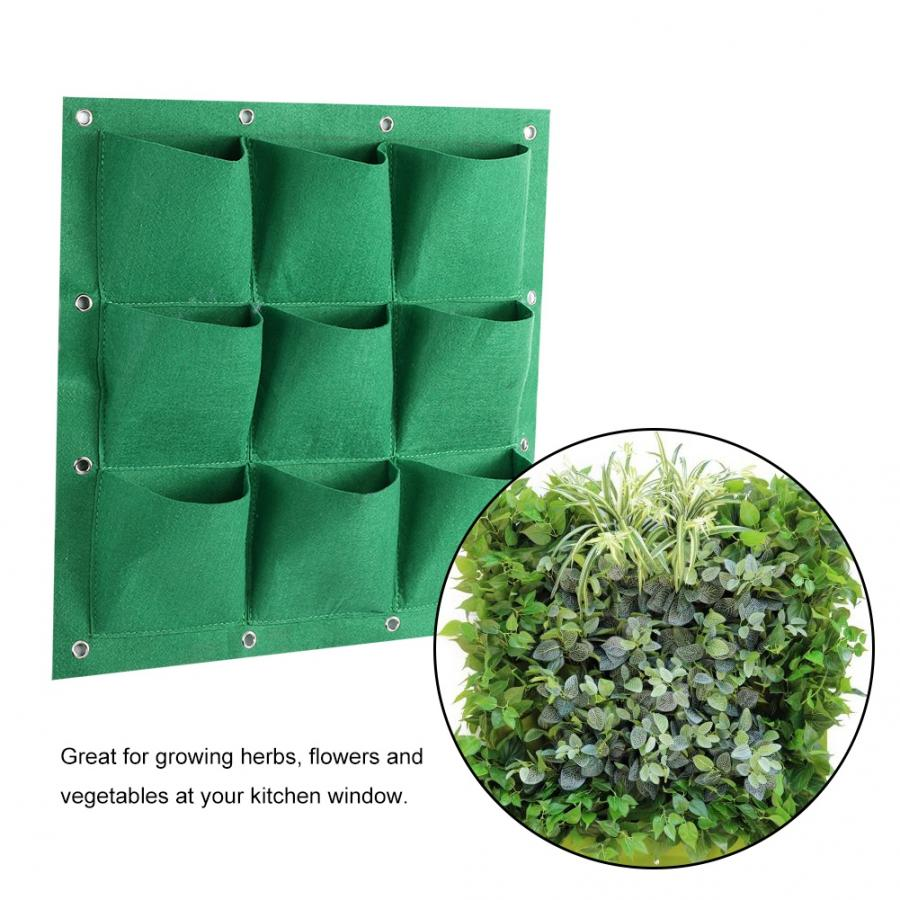 Fashionable 9 Pocket Vertical Greening Hanging Wall Garden Grow Plant Bags Planter Grow Bags Home Decor