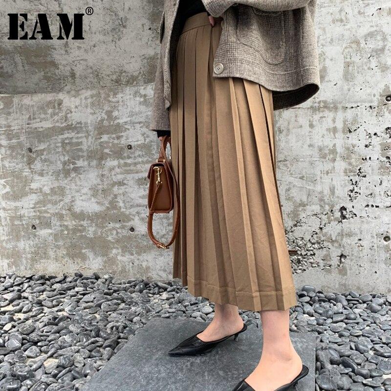 EAM 2019 New Spring Summer High Waist Khaki Loose Brief Pleated Loose Half body Skirt