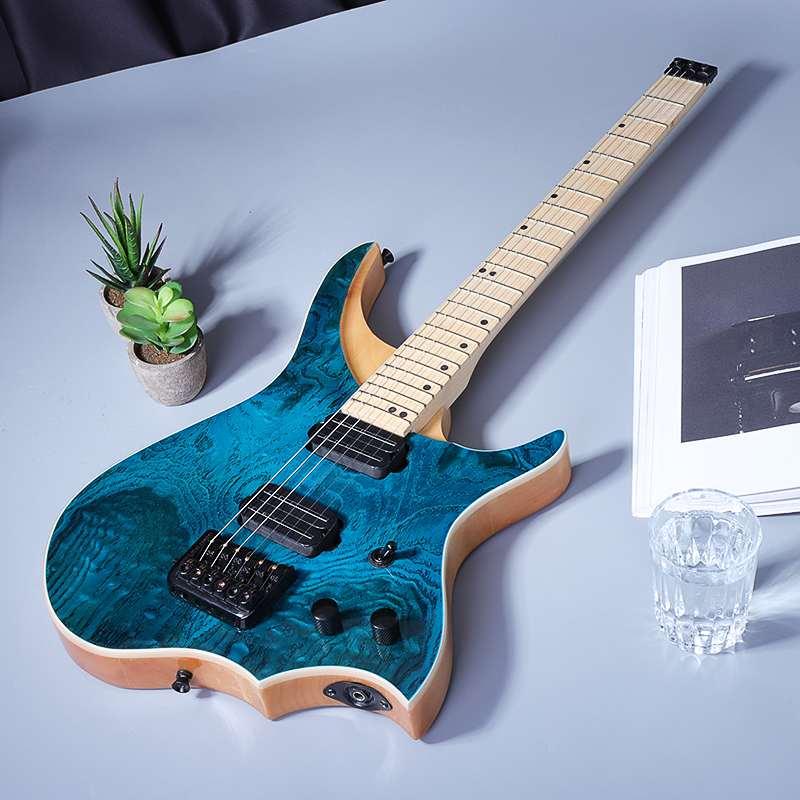 24 frets 6 string blue burst electric guitar white wax wood top solid maple neck. Black Bedroom Furniture Sets. Home Design Ideas