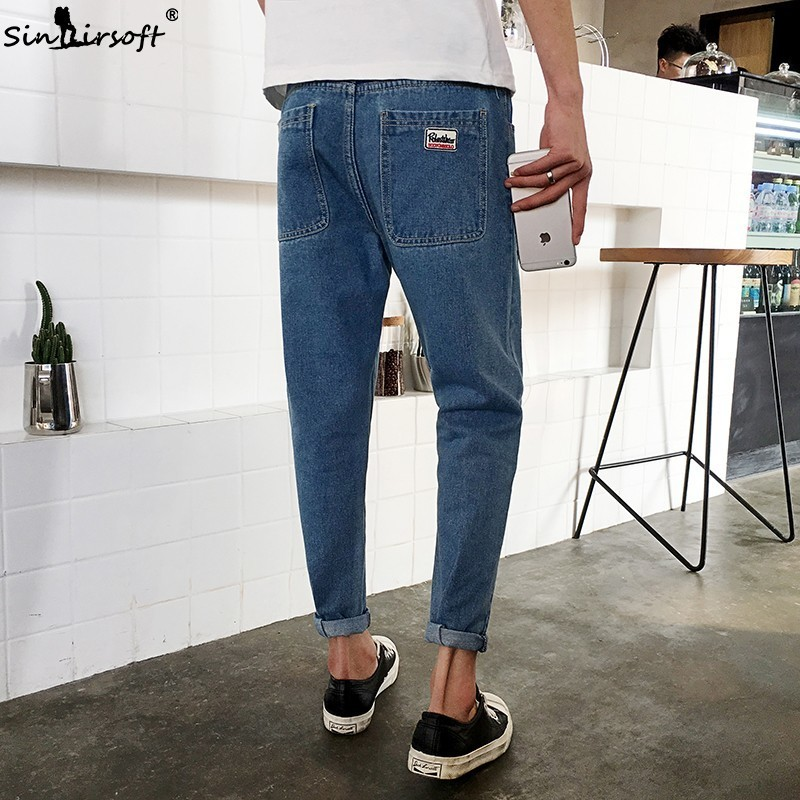 2019 Cartoon Printed Pencil Pants Men Casual Streetwear Full Length Denim Jeans Male Pattern Cat Big Pocket Trousers Summer New in Jeans from Men 39 s Clothing