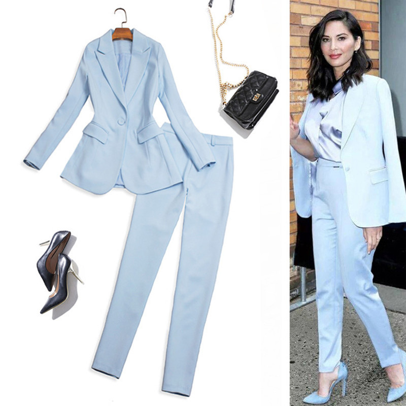 Spring Autumn High Quality Pant Suits For Women Work Office Ladies Formal Business Wear Blue Pink Luxury Brand Blazer Pants Set Suits & Sets