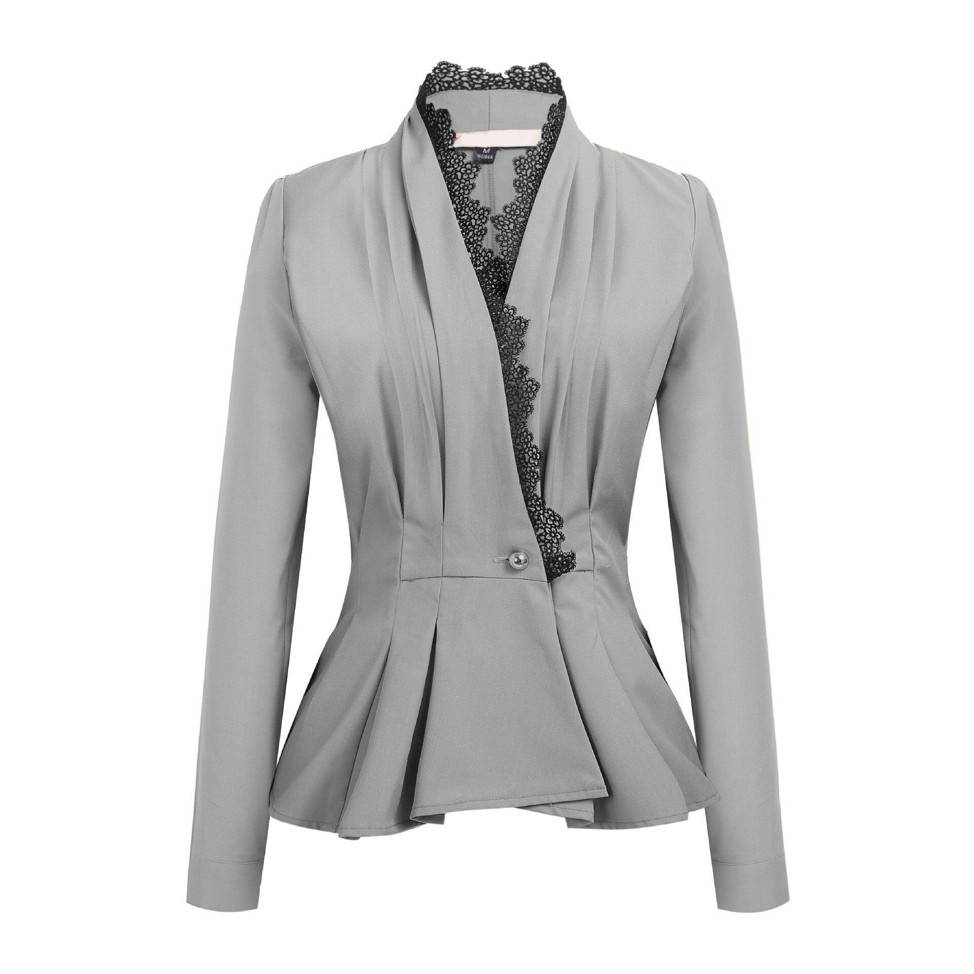 2019 Fashion Lace Blazers Jackets Women Work Office Lady Suit Solid Black Single Button Business Female Slim Blazer