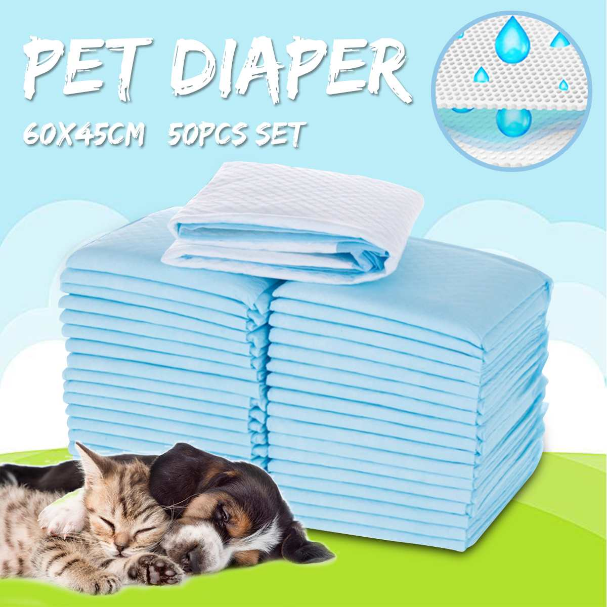 50pcs Pet Disposable Diaper Dog Cat Deodorant Absorption Sofa Floor Training Dog Tray Accessories /Baby Kids Pets Absorbent Pad