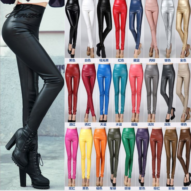 2020 Thicken Winter PU Leather Women Pants High Waist Elastic Fleece Stretch Slim Woman Pencil Pants Skinny Trousers 25 Colors