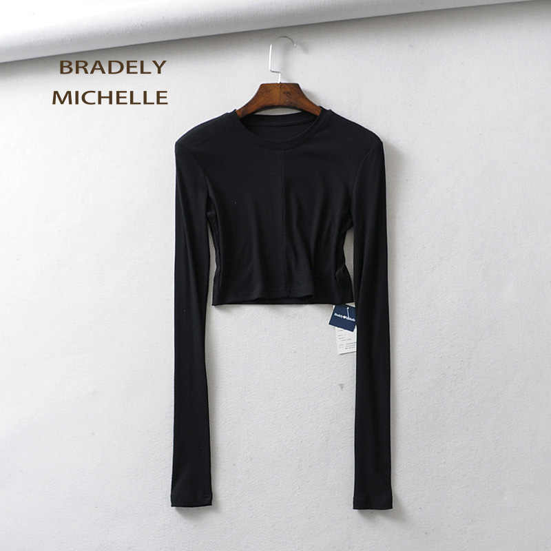 48a3b58d BRADELY MICHELLE 2019 Women Summer Soft Sexy Slim Knitted Cotton Crop Tops  Super Long-sleeve Basic O-neck t-shirt female