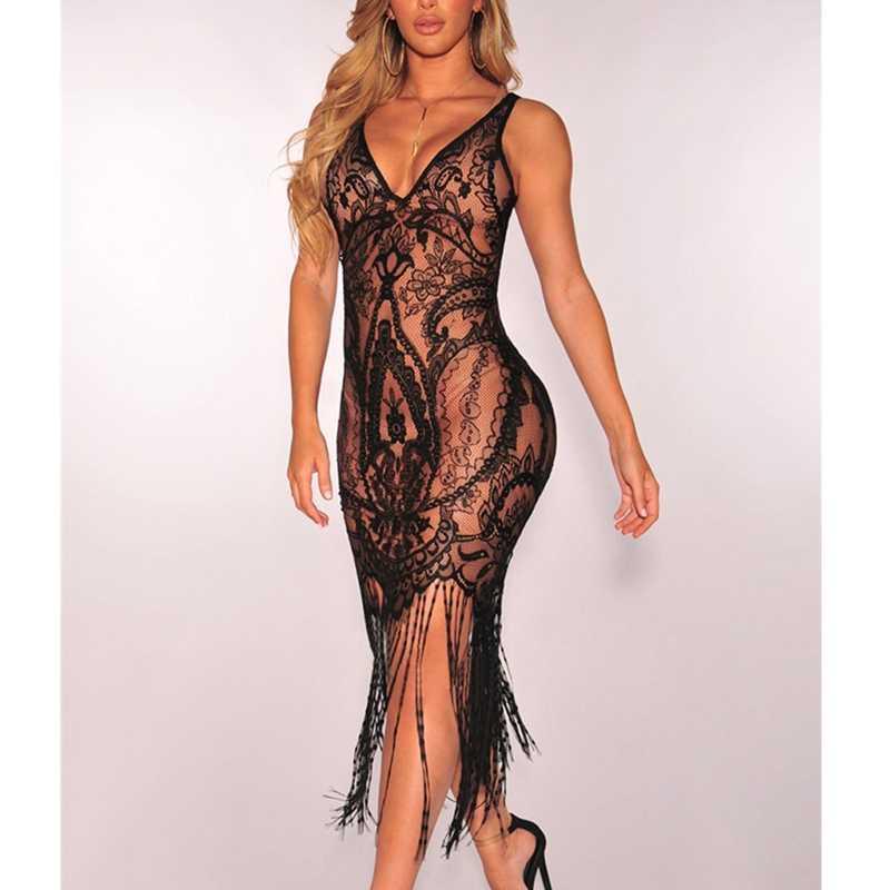 Femmes Sexy été gland Slim dentelle noire évider moulante dentelle robe plage sans manches robes