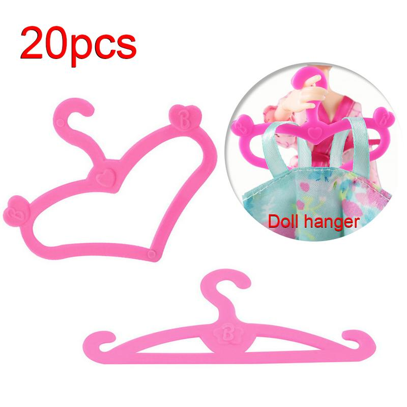 20 Pcs /Lot Pink Mix Style Dolls Hangers Dress Clothes Holder Cute Accessories For Barbie Doll 12'' Pretend Play Girls Gift Toys